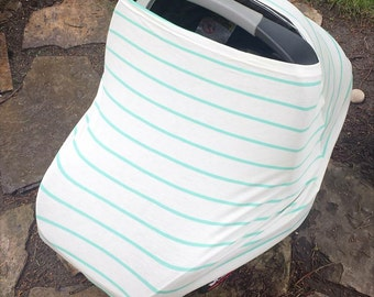 Stretchy Car Seat Cover/Nursing Cover by Solchan || Stretch Multifunctional Baby Carseat Multiuse, mint stripe