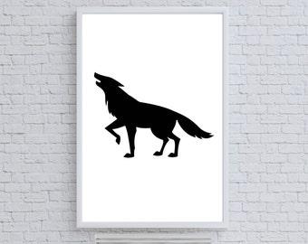 Fox Print, Animal Poster, Instant Download, Kids Art, Nursery Wall Art, Animal Photo, Wild Art, Black Fox