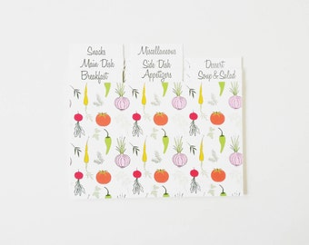 Recipe Card Dividers, 4x6 Dividers, Vegetable recipe cards, Herbs recipe card, Bridal shower recipe card