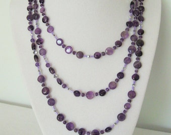Natural Amethyst Semi Precious Gemstone Necklace; Long Strand 52 inches