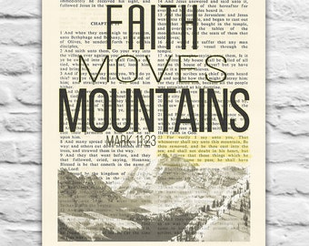 Vintage Bible page verse scripture Mark 11:23 Faith moves mountains, Instant DIGITAL DOWNLOAD, 8x10 11x14, Wedding gift, christian gift