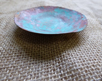 Patina Copper Low Dish Copper Bowl