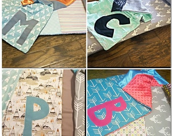 "10"" one letter initial applique on blanket"
