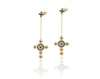cross gold earrings - cross earrings - goldplated earrings - Byzantine earrings - dolce  earrings- joyería religiosa - pendientes en cruz