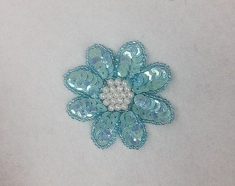 6 Pieces Sequined Flower Applique With Beads