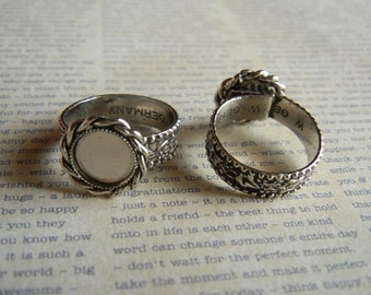 Small 9mm silver plated Braided adjustible ring**SET OF 2**