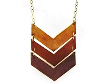 Handmade Leather Chevron Necklace