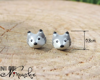 Chips earrings / nails mini grey wolves (fimo) small head little wolf cub