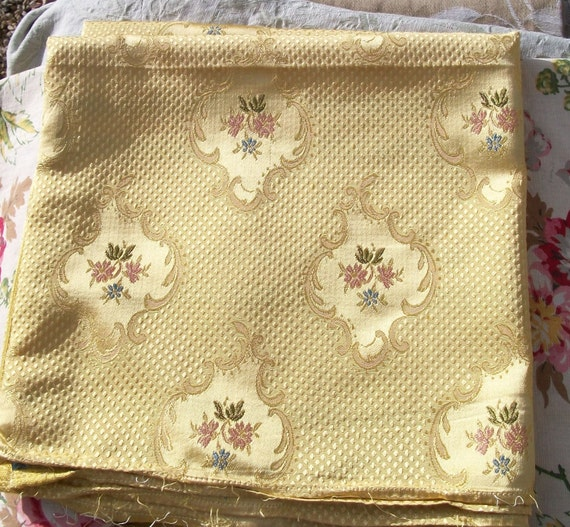 panel of Vintage French Fabric Buttercup Yellow Gold Woven Silks Golden Textile
