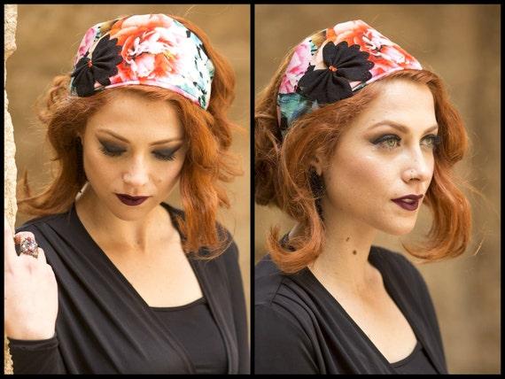 Floral Print Headband/Black Bow Embellishment/Festive Hair Wrap/Party Hairband/Bright Flower/Sophisticated Head Scarf/Colorful Tichel/Church