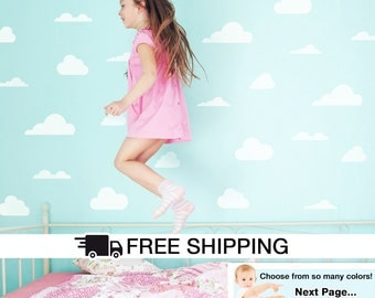 Clouds Wall Decal, Clouds Wall Stickers, Clouds Shapes Decal,  Nursery Wall Decals, Cloud Decals, Mixed Sizes Cloud Wall Decals - By Todeco