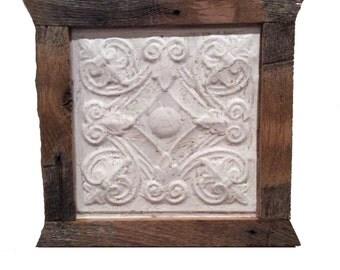Framed Antique Ceiling Tile Tin/ Wood Frame Art , antique wall tin, framed farmhouse tin