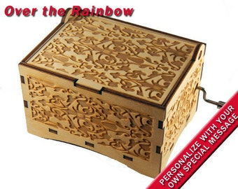 "Jewelry Music Box, ""Over the Rainbow"", Laser Engraved Wood Hand Crank Storage Damask"