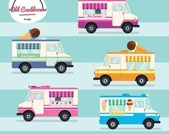 Vintage ice cream trucks clipart commercial use, ice cream clip art, scrapbooking, vector clipart, vector graphics