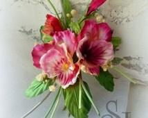 Silk Flowers Corsage Boutonniere Pansies, romantic silk pansy brooch, hat accessories, Valentine's Birthday gift. Handmade silk flowers. NB