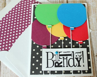 Balloon Birthday Card, Handmade, Hand Stamped, Blank Inside, Child's Card