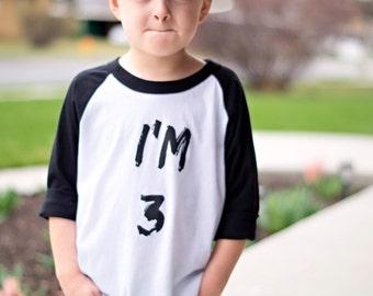 Third birthday shirts. 3 birthday shirts. Third birthday. Im 3 shirts. Baseball style shirts. Raglans, handmade kid shirts. Toddler boy