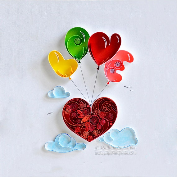 Quilling Wall Art Design : Quilling wall art paper love heart