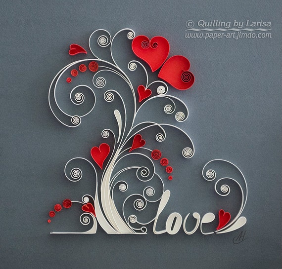 Quilling wall art paper quilling art love tree quilling paper Wall art paper designs