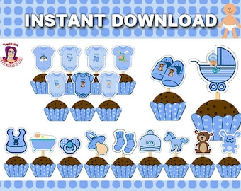 BABY SHOWER Cupcake Toppers, Instant Download, Blue Baby Cupcake Toppers