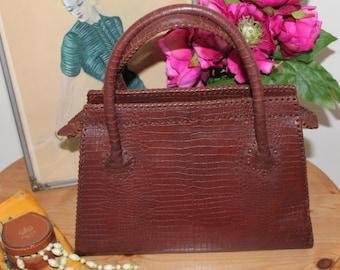 Vintage 1940/50's Brown Leather Handbag/Pocket Book/ Leather Handbag/Sale/REDUCED