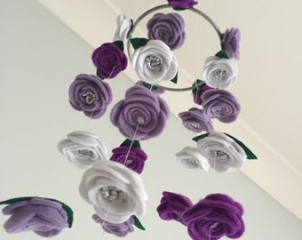 """The """"Charli"""" Felt Roses Hanging Flower Baby Mobile {custom made item - your choice of colours}"""