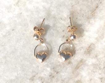 Heart Earrings, Gold Heart Earrings, Vintage Heart Earrings, 14k Gold Heart Earrings, Dainty Heart Earrings, Post Earrings, Heart Jewelry