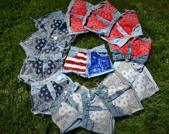 Custom Patriotic American Flag High Waisted Shorts