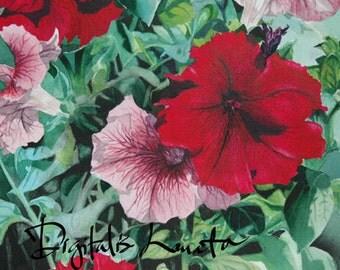 "Petunias II notecards (A7 size/5""x7"") set of 10"