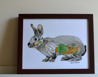 "Rabbit What You Eat - print of original illustration 8""x10"""