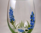 Hand Painted Stemless Wineglasses with Bluebonnets, Ladybugs, Sunflower, a Surprise After You Finish Your Drink, & You Won't Misplace it!