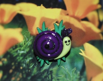 Handcrafted Novelty Cute Little Purple Snail On Grass Hat/Shirt/Lapel Pin