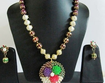 Beautiful Multi Color Beaded Necklace, Pachi Pendant Necklace approx 26 inch Long inclusive pendant, Flower Design Charm, Handmade Beads