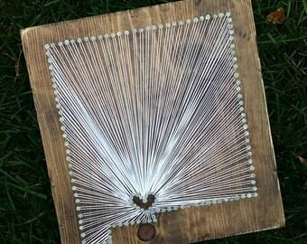 New Mexico String Art, State string Art, New Mexico Nail Art, Rustic Decor, custom sign, NM love, NM home, NM decor, 12x13