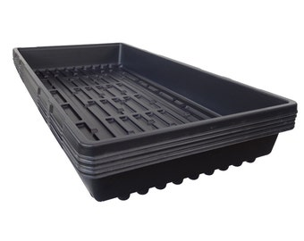 Pack of 10 Black 1020 Heavyweight Trays WITHOUT Holes - Wheatgrass, Greenhouse, Seed Starting, Microgreens, Organic Gardening