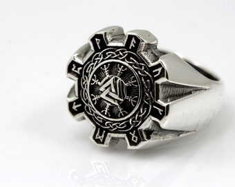 Valknut,Vikings, Cool Signet Silver Ring V.2,Silver with Black Oxidized.