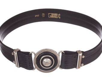 Versace Medusa Snake Skin Print Leather Belt