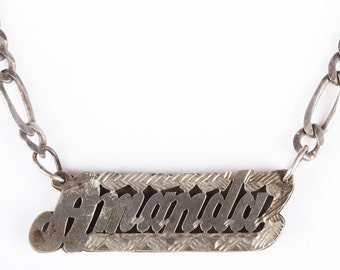 Custom Amanda Name Plate Necklace