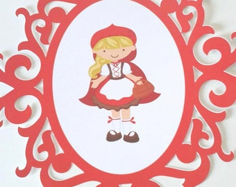 Little Red Riding Hood Vintage paper frame Party decor