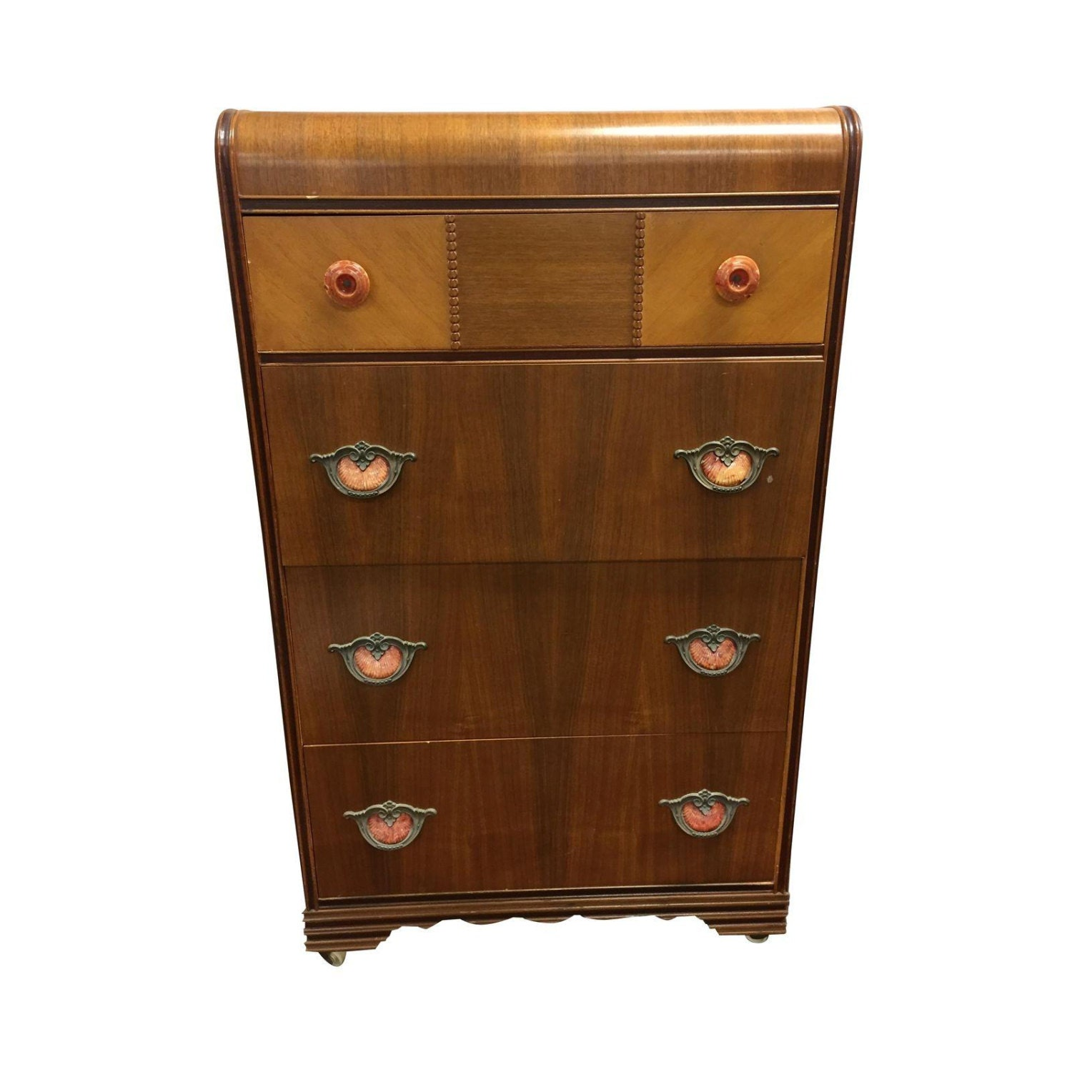 Art Deco Dresser Waterfall Chest Of Drawers By