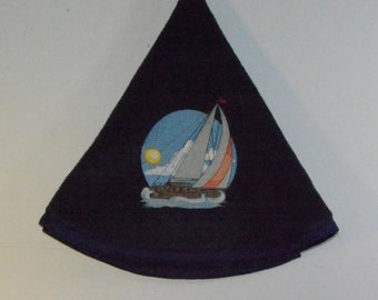 Embroidered Towel - Sailboat