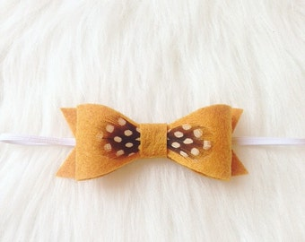 Mustard Felt Bow with Brown Feather-Headband-Baby-Toddler