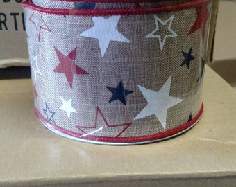 """10 yards 2 1/2"""" wired ribbon with stars"""