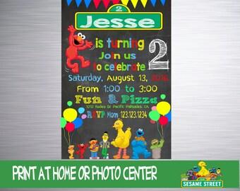 Fun Sesame Street Invitation, Elmo Invitation, Sesame Street Birthday, Sesame Street Invite, Invitacion, Sesame Street Party, Printable