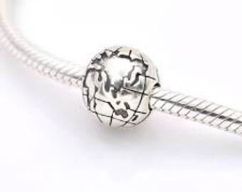 Pandora S925 Sterling Silver Around the World Globe Clip ..Travel..Vacation