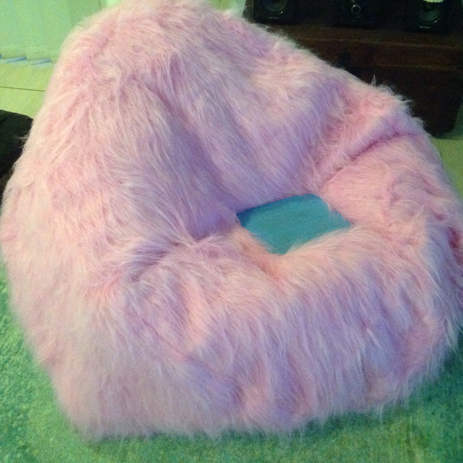 Pink Faux Fur Shaggy Bean Bag For Bedroom Lounge Rumpus A