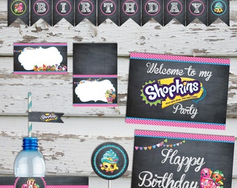 Shopkins Birthday Party Pack Shopkins Decorations Shopkins Party Kit Shopkins Food tents shopkins banner INSTANT DOWNLOAD
