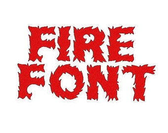 Fire  Embroidery Font, 1,2,3 Inches, Instant Download