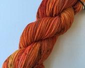 "SANDIA 4 oz/434 yds - hand dyed fine fingering sock weight yarn, colorway ""The last Pumpkin"""