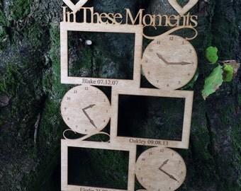 Wooden In These Moments Frame Personalised Birth time date and name for 3 children